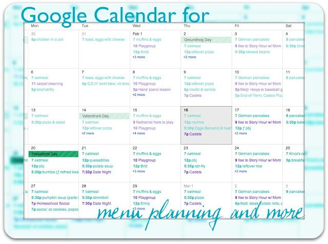 Using Google Calendar for Meal Planning - meal calendar