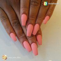 Matte coral coffin nails   Nails   Pinterest   Coffin ...
