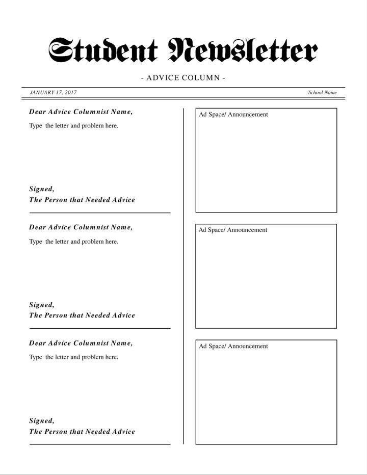 Student Newsletter With Advice Column Template Teacher39s