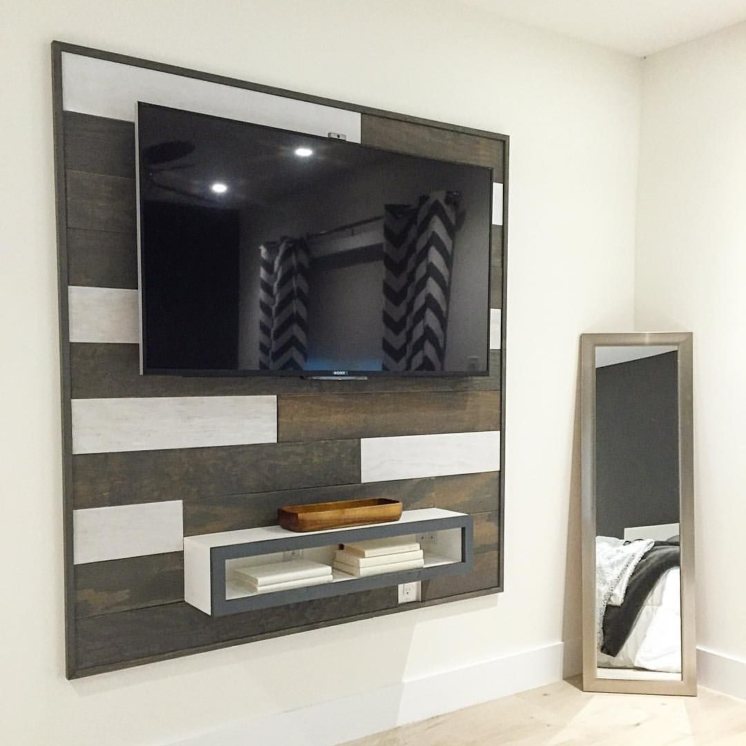Floating Tv Wall Unit Sectional Wood Wall With A Floating Entertainment Unit