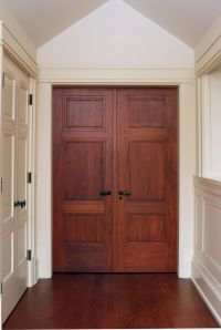 Custom 3 panel Mahogany interior double door with