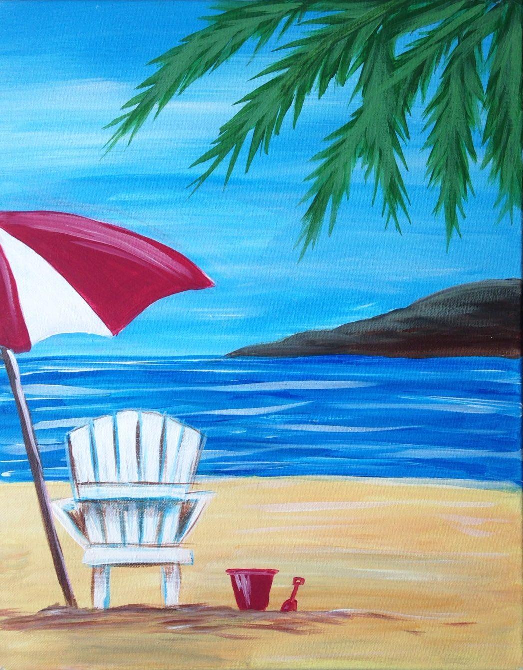 Chairs beach chair painting alan metzger regarding beach chair umbrella
