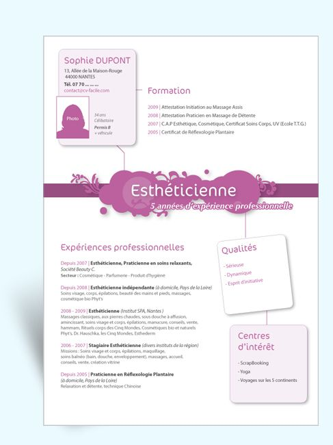 model cv gratuit estheticienne