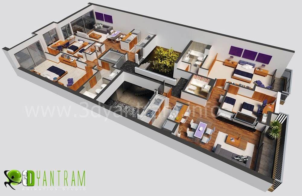 3D #Floor #plan #Design CapeTown South Africa #Floorplans - 3d house plans
