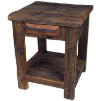 Rustic Old Wood End Table