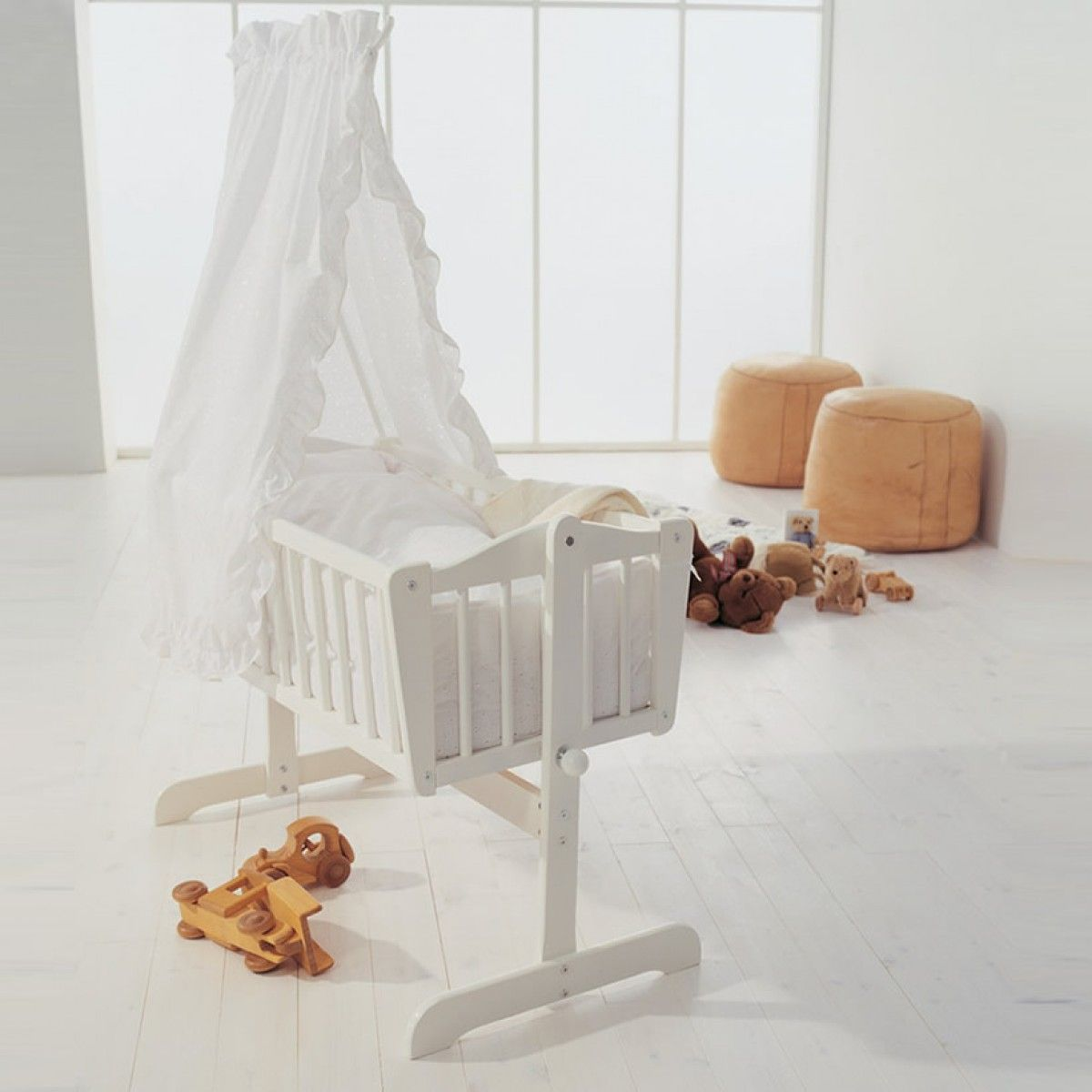 This beautiful babydan sofie white rocking crib is fit for any little prince or princess