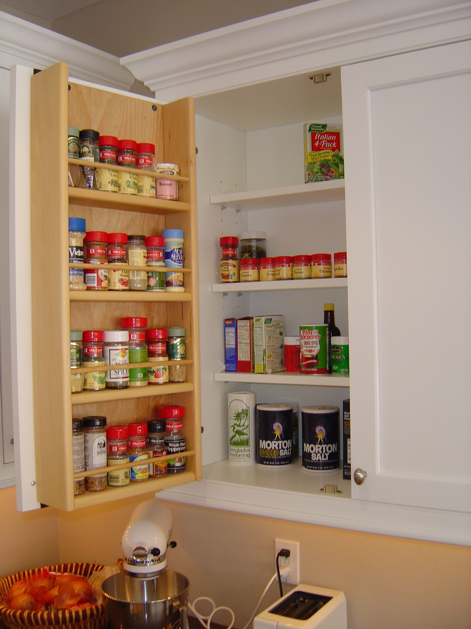 Inside Of Kitchen Cabinets Tedd Wood Spice Storage On Inside Of Cabinet Door