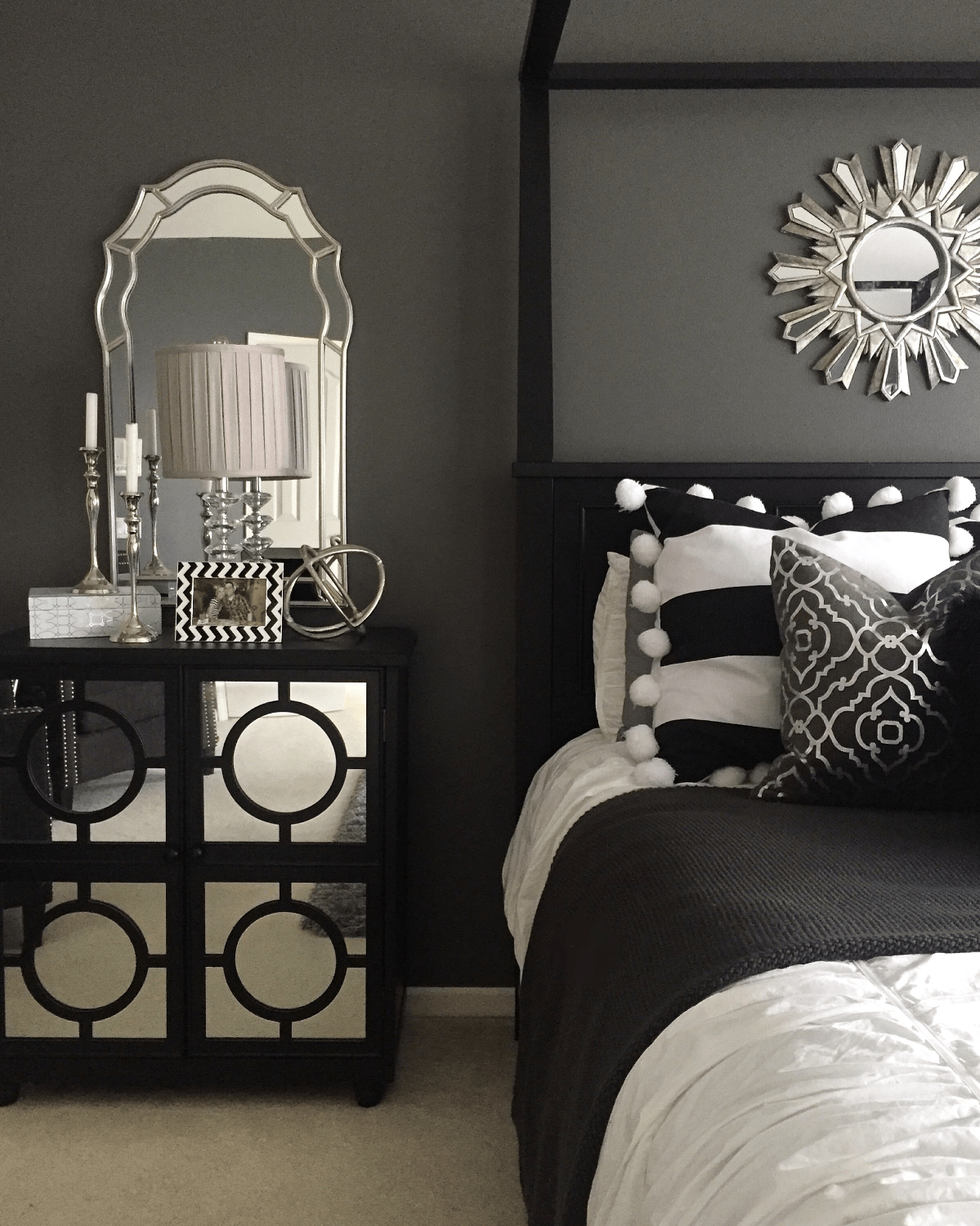 Glam Bedroom Inspiration Bedside Inspiration From Home Goods Mirrors Lamp