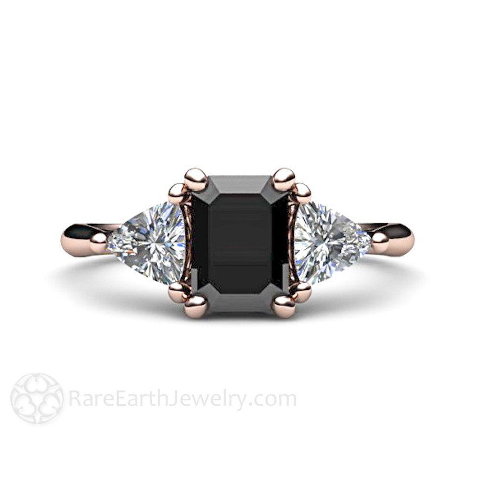 black wedding ring Black Diamond Engagement Ring 3 Stone Vintage Black Diamond Ring Unique Engagement 14K or 18K Gold or Platinum
