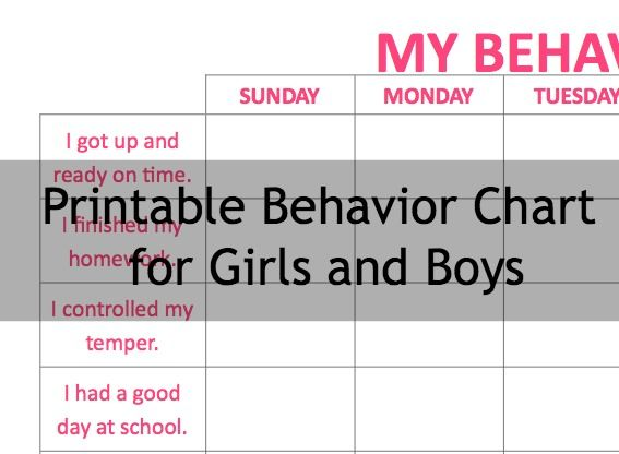Printable behavior chart for boys and girls #ADHD Mom Section - printable behavior chart