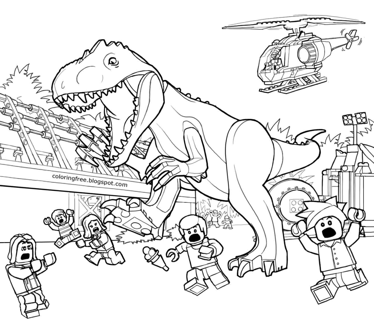 Printable coloring pages jurassic world - Prehistoric Landscape Jurassic World Lego Dinosaurs Minifigure Movie Printable Sheets Coloring Pages