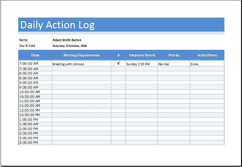 Daily Action Log Sheet DOWNLOAD at http\/\/wwwbizworksheets - activity log template