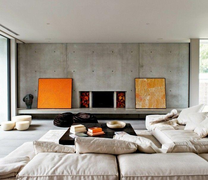 wohneinrichtung ideen beton krasse akzente wohnideen wohnzimmer - wohnideen modern