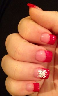 Christmas nail art French manicure red with white ...