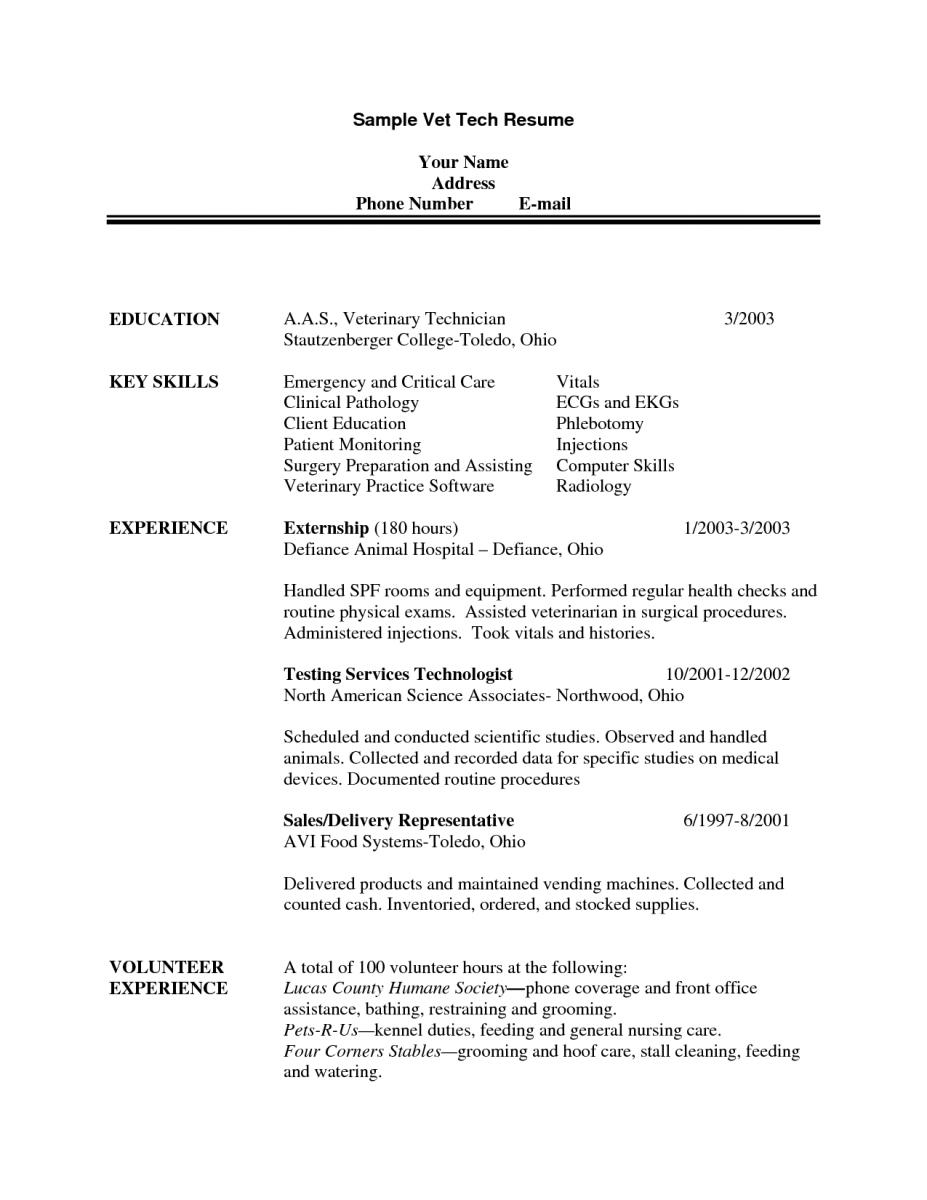 skills section of resume for vet tech