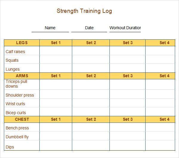 ... Log Template In Pdf Weight Training Logs, Free Blank Workout Logs   Running  Log Template ...