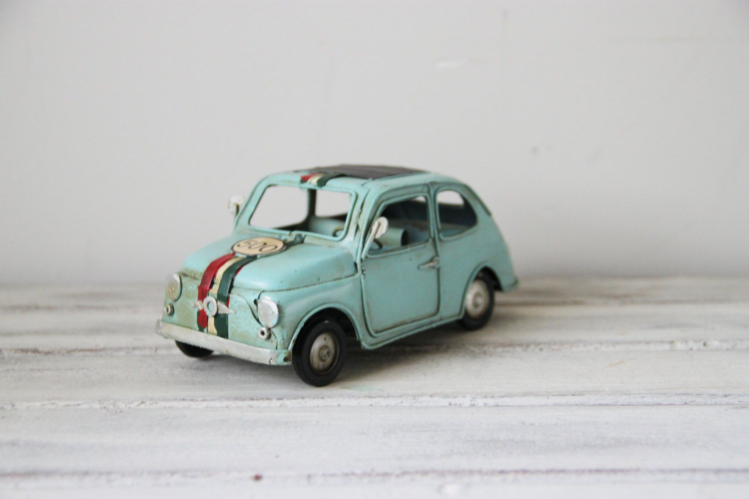 Fiat 500 Retro Vintage Turquoise Miniature Fiat Car 500 Is A Retro