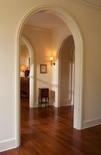 with these arched door ways...(thicker crown molding ...