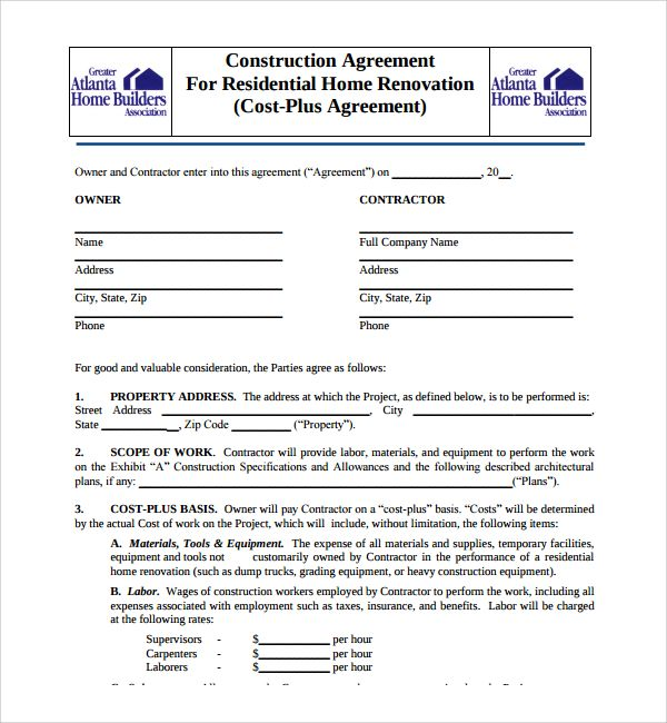 Construction contractors and agents have to go through a lot of - free sample construction contract