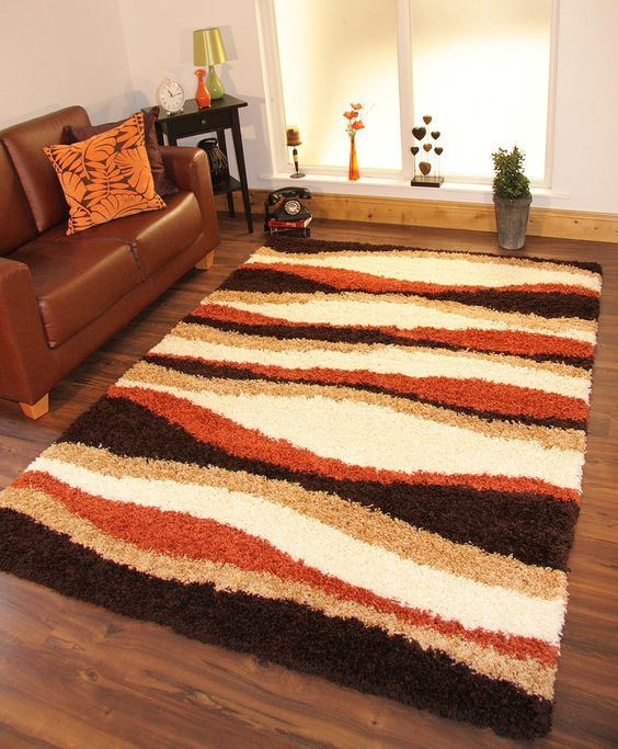 Shag Area Rugs, Rugs Carpets, Orange Area Rug Living Room, Burnt - brown rugs for living room