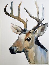 Reindeer Original Watercolor Painting Winter Gift Deer ...