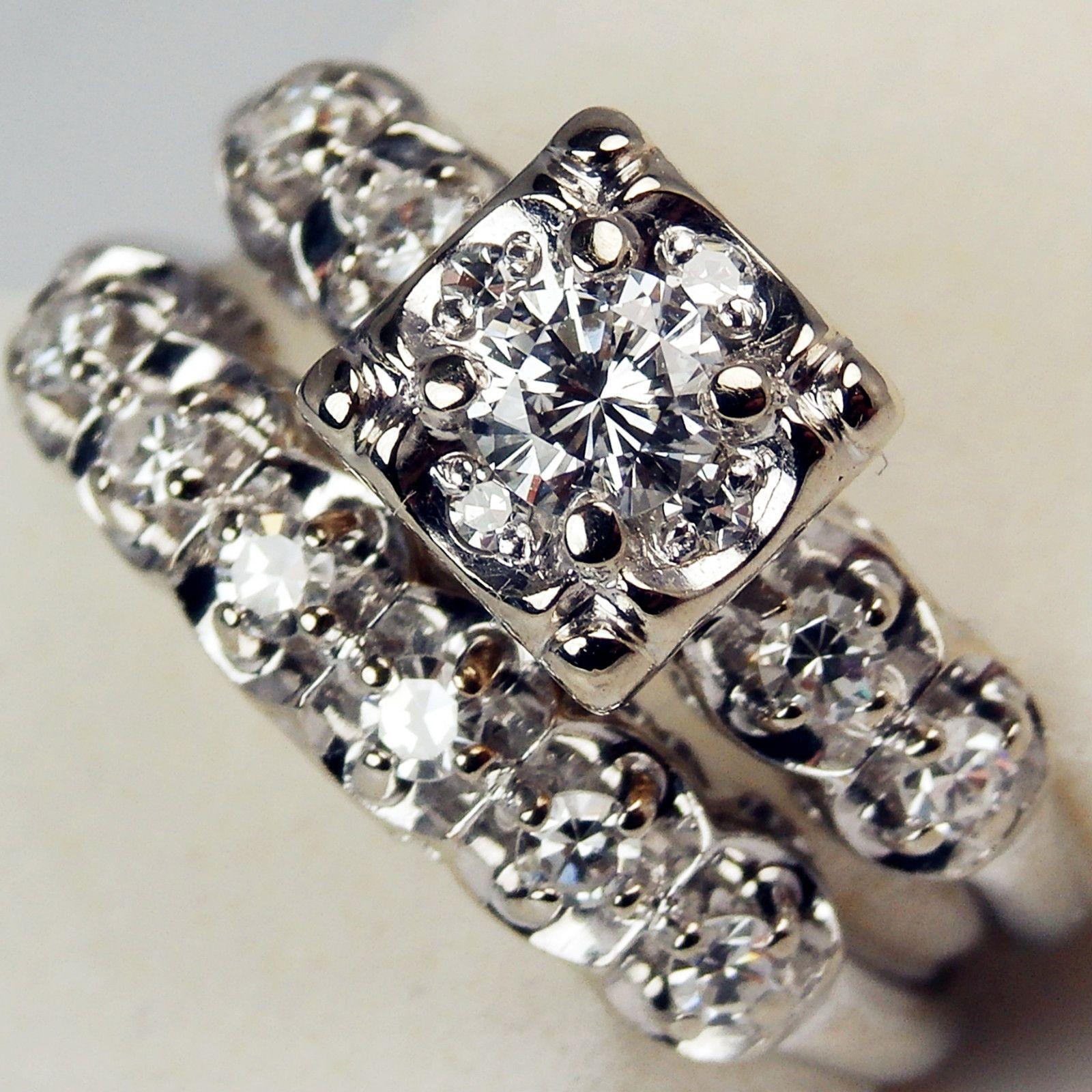 keepsake wedding rings Keepsake 14k Gold Antique Illusion Diamond 35 Ct Engagement Ring Wedding Band 5