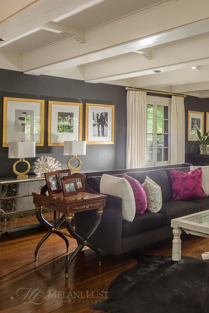 Hot Pink Living Room grey with gold, white \ hot pink - gray and gold living room