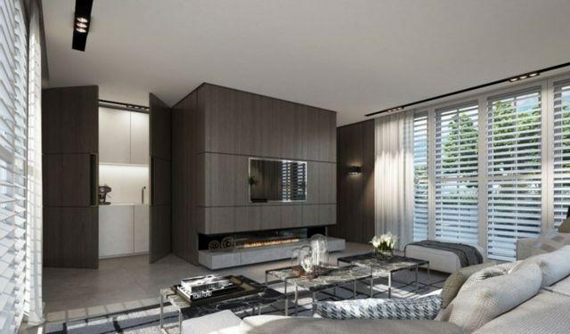 Holzwand neutrale Farbe Wohnzimmer Wohnideen Guitar Studio - wohnideen modern