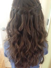 Waterfall braid I did on my niece with her next-day curls ...