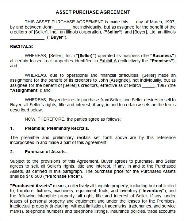 asset purchase agreement template free Agreement Pinterest - sample business purchase agreement