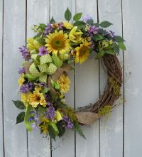 Sunflower Wreath, Summer Wreath, Burlap Wreath, Front Door