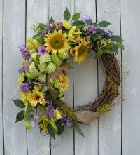 Sunflower Wreath, Summer Wreath, Burlap Wreath, Front Door