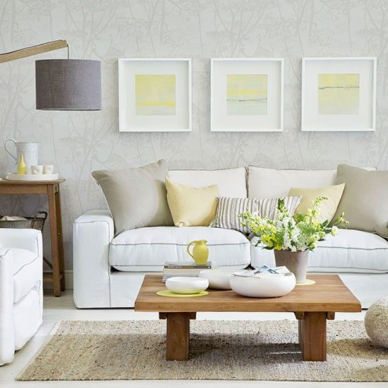 White and pale yellow living room Living Rooms Pinterest - yellow and grey living room