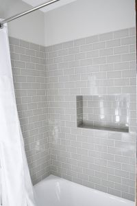 Modern Meets Traditional Styled Bathroom | Subway tile ...