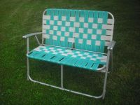 RARE VINTAGE WEBBED ALUMINUM FOLDING LAWN CHAIR LOVE SEAT ...