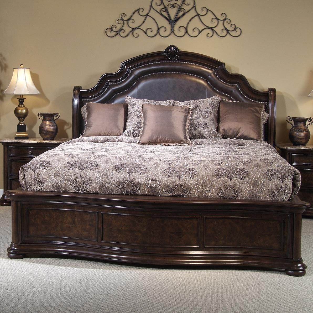 King Size Bed Size Beautiful King Size Bed Frame Using Brown Leather