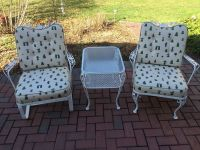 Vintage Woodard Wrought Iron Patio Set - 2 Chairs & Table ...