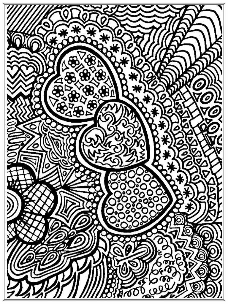 Flower and heart free adult coloring pages printable