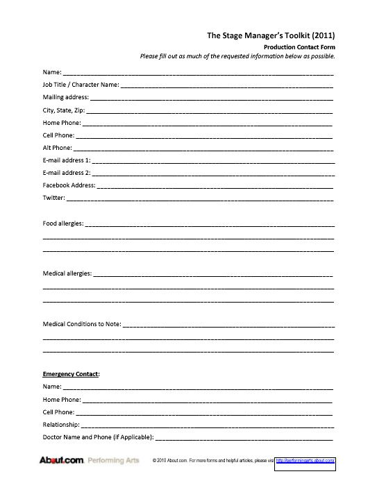 Printable Sign-in Sheets and Checklists for Stage Managers Stage - stage management resume