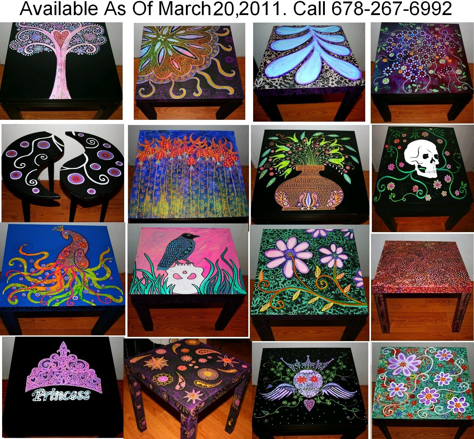 Funky painted furniture ideas -  Ideas Funky Home Decor Hand Painted Coffee Tables Nightstands Download