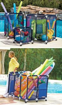These mesh pool toy storage bins are large enough to hold ...
