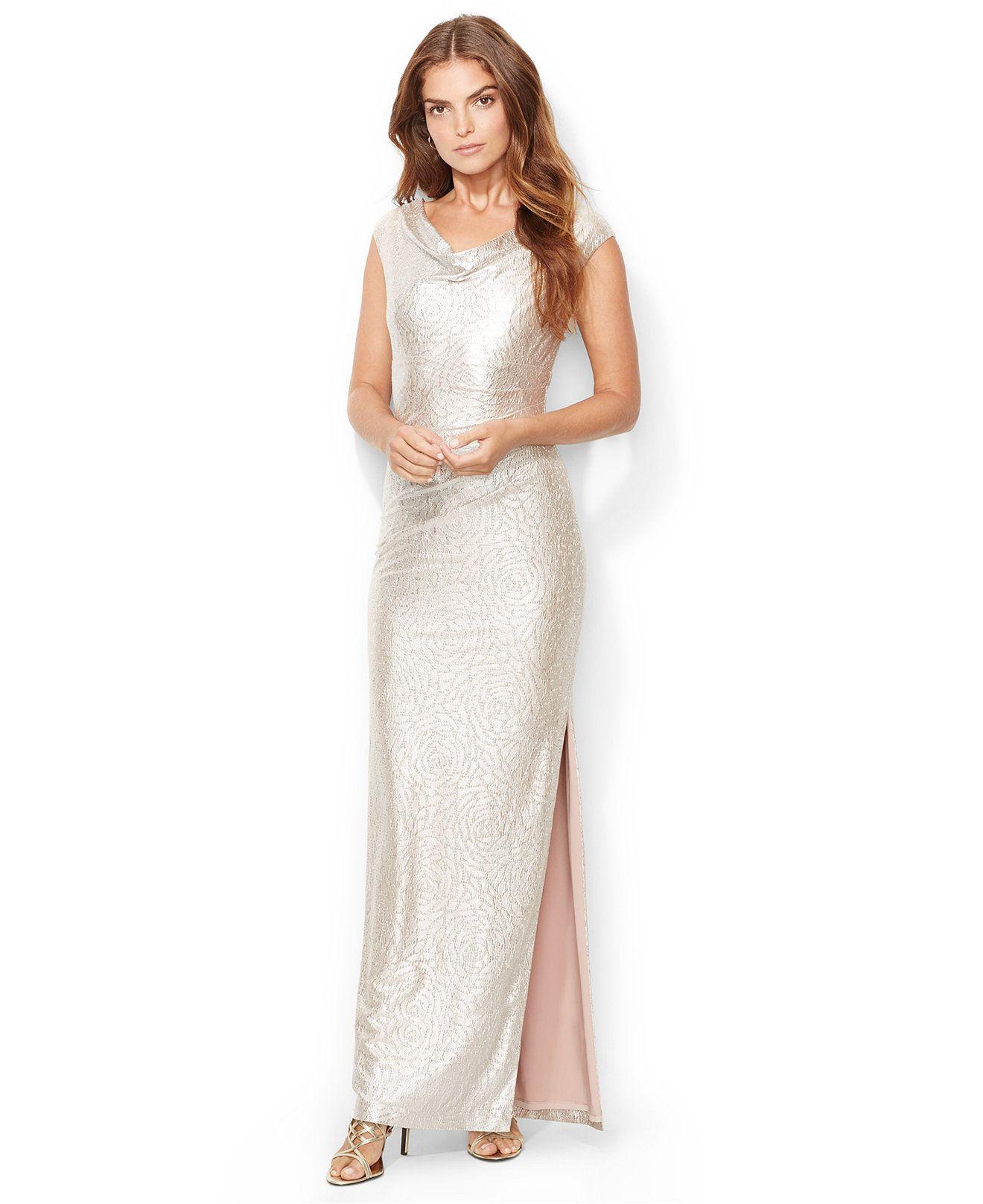 macy's wedding dresses Lauren Ralph Lauren Cowl Neck Metallic Gown Dresses Women Macy s