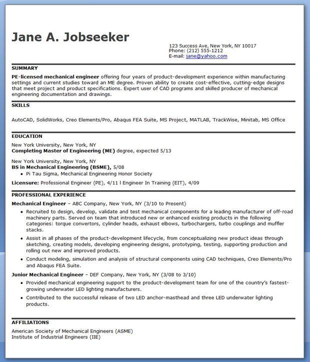 Mechanical Engineering Resume Sample PDF (Experienced) Creative - resume formats for engineers