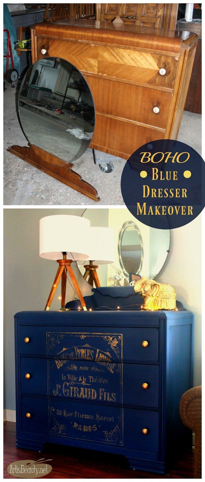 Pinterest Meubles Peints Art Is Beauty Bohemian Blue Painted Vintage Dresser With French