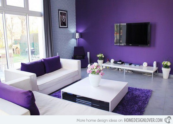 15 Catchy Living Room Designs with Purple Accent Purple accents - purple living room decor