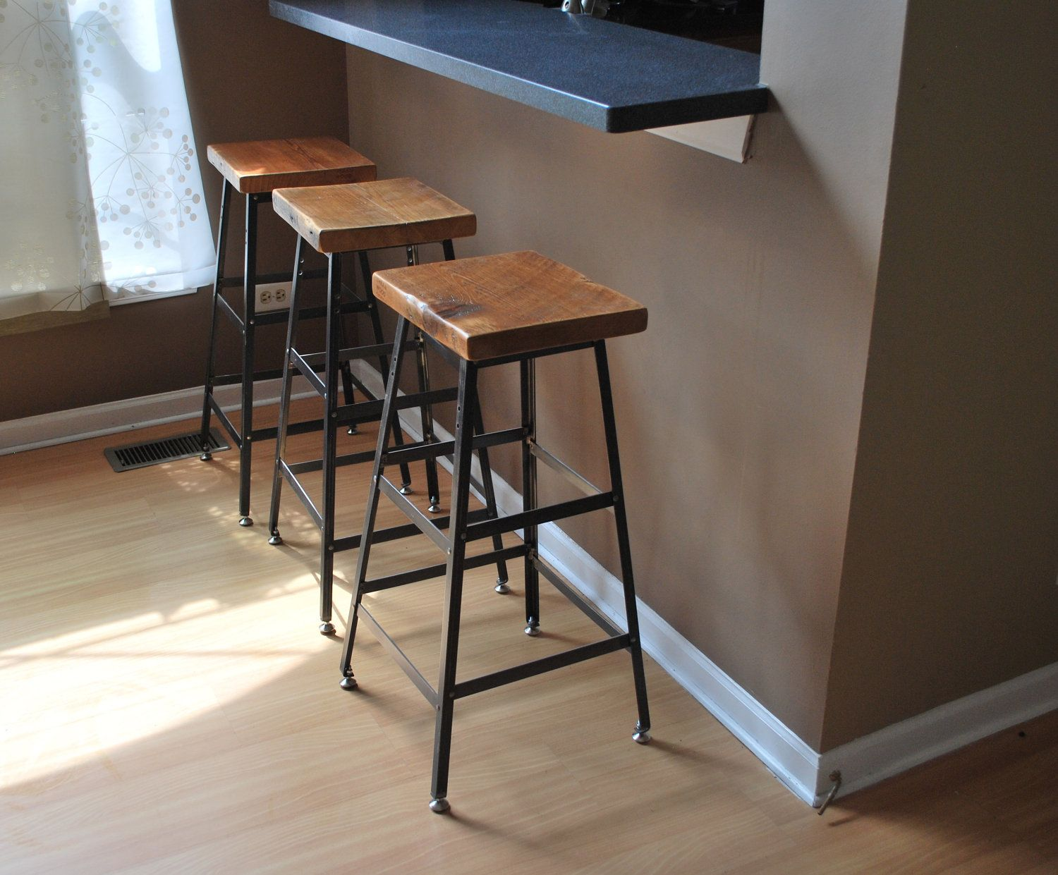 Industrial Counter Height Bar Stools Reclaimed Wood And Steel Industrial Shop Stool Made In