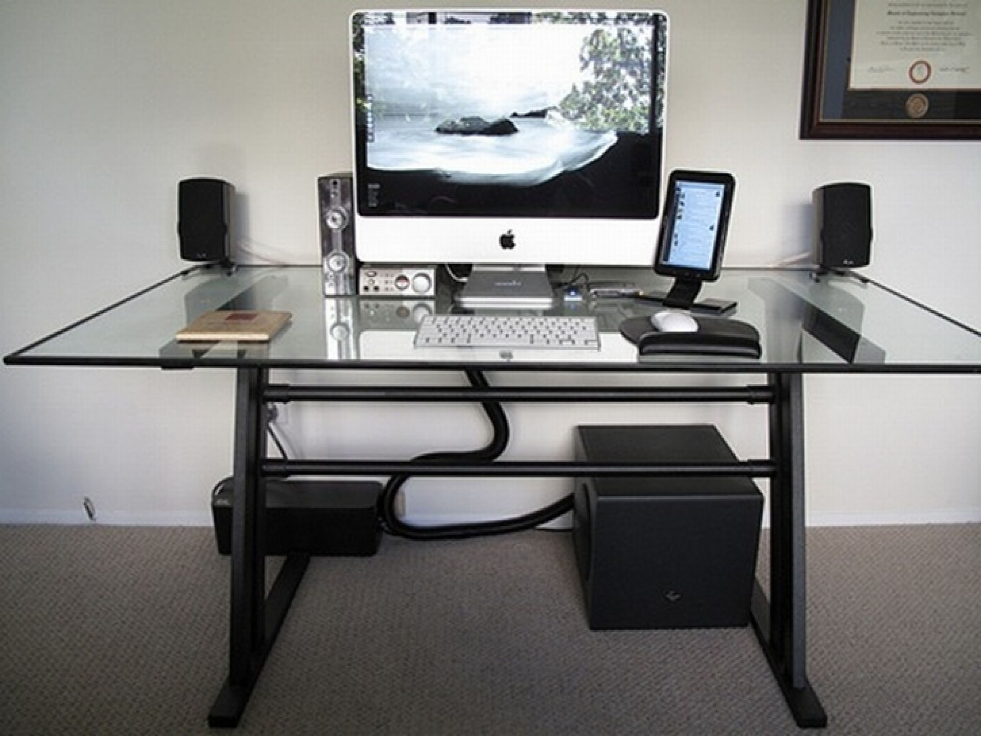 Modern Table Desk Modern Glass Top Computer Desk Design With White Keyboard