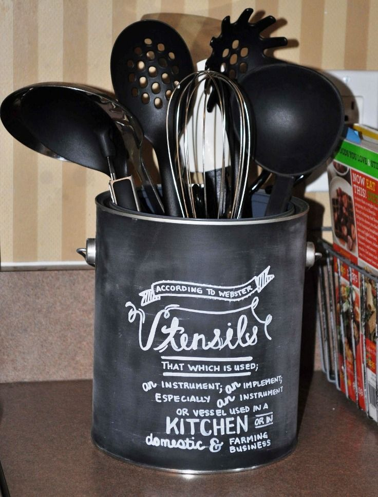 Rustic Utensil Crock Top 10 Best Diy Kitchen Utensil Holders | Chalk Typography