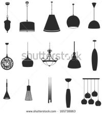 Sets of silhouette ceiling lamps light for home appliance ...