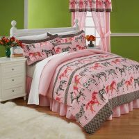 Horse Bedding for Teens | Mustang Sally Horses Pink ...
